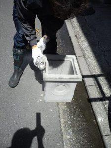 排水桝を加工する